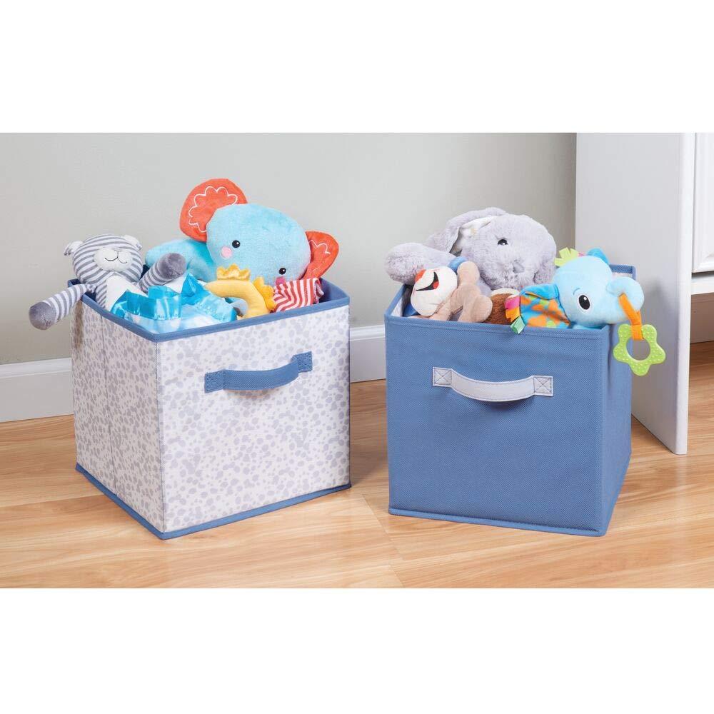 f/ür Ordnung am Wickeltisch und zur Spielzeug Aufbewahrung Decken etc blau//grau MetroDecor mDesign 2er-Set Aufbewahrungsbox aus Stoff Kleidung kleine Stoffboxen f/ür Windeln