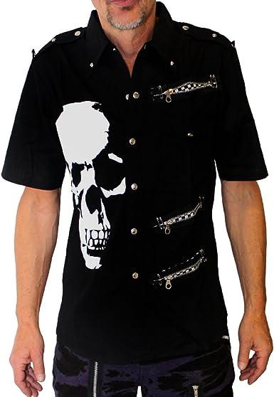 Calavera Camisa de manga corta Negro negro: Amazon.es: Ropa y ...