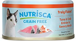NUTRISCA Truly Flaked Canned Wet Cat Food, Grain Free, 2.7 oz. Cans (Pack of 24)
