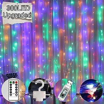 Luz de Cortina JINPX Luz Cadena con 300 LED 8 Modos 3 * 3M Multicolor Perfecto para Fiestas,Bodas,Festivales,Presentaciones,Bares, Restaurantes, Hoteles, Conciertos: Amazon.es: Iluminación