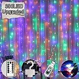 Luz de Cortina JINPX Luz Cadena con 300 LED 8 Modos 3 * 3M Multicolor Perfecto para Fiestas,Bodas,Festivales…