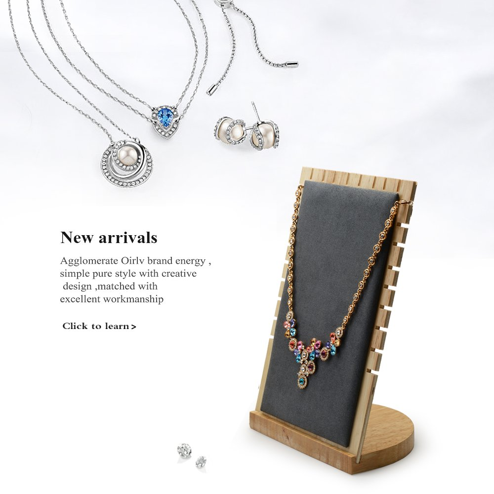Oirlv Solid Wood Jewelry Display Stand Necklace Showcase Holder Pendant,Long Chain handing Organizerr (13-bit necklace board gray) by Oirlv (Image #2)
