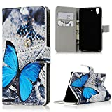 Huawei Y6 Scale Wallet Case - Mavis's Diary Fashion Style Premium Leather with Card Holders Magnetic Clip Flip Cover Stand Case for Huawei Y6 Scale (Blue Butterfly)