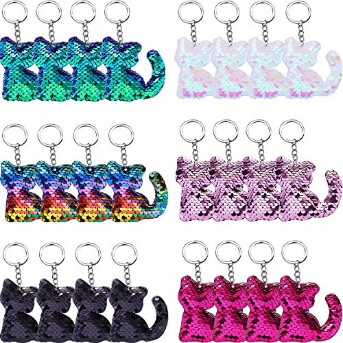 Blulu 24 Pieces Flip Sequin Keychain Cat Shape Key Ring Hanging Keychain Decoration for Party Supplies