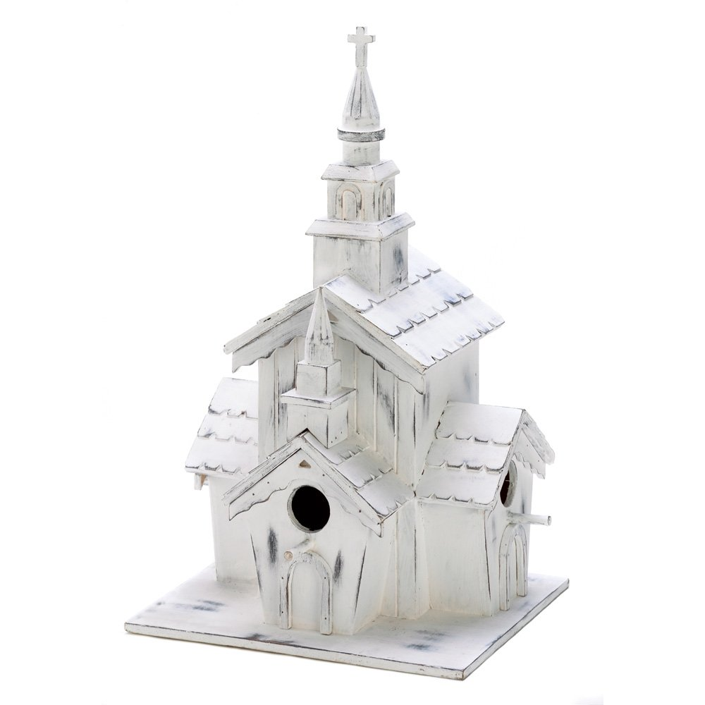 Little White Country Church Chapel Garden Birdhouse