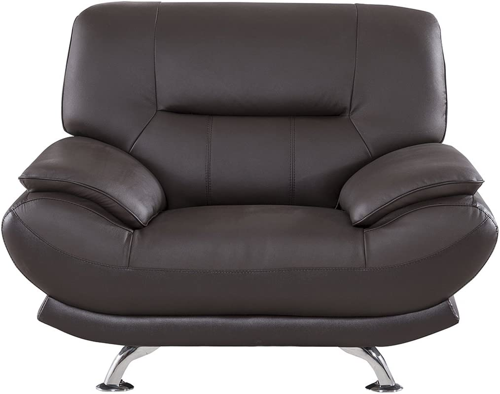 """American Eagle Furniture Arcadia Modern Leather Living Room Armchair with Pillow Top Armrests, 48"""", Dark Chocolate"""