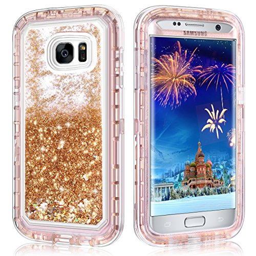 Galaxy S7 Edge Case,Wollony 360 Full Body Shockproof Liquid Glitter Quicksand Bling Case Heavy Duty Phone Bumper Soft Non-Slip Clear Rubber Protective Cover for Samsung Galaxy S7 Edge (Rose Gold)