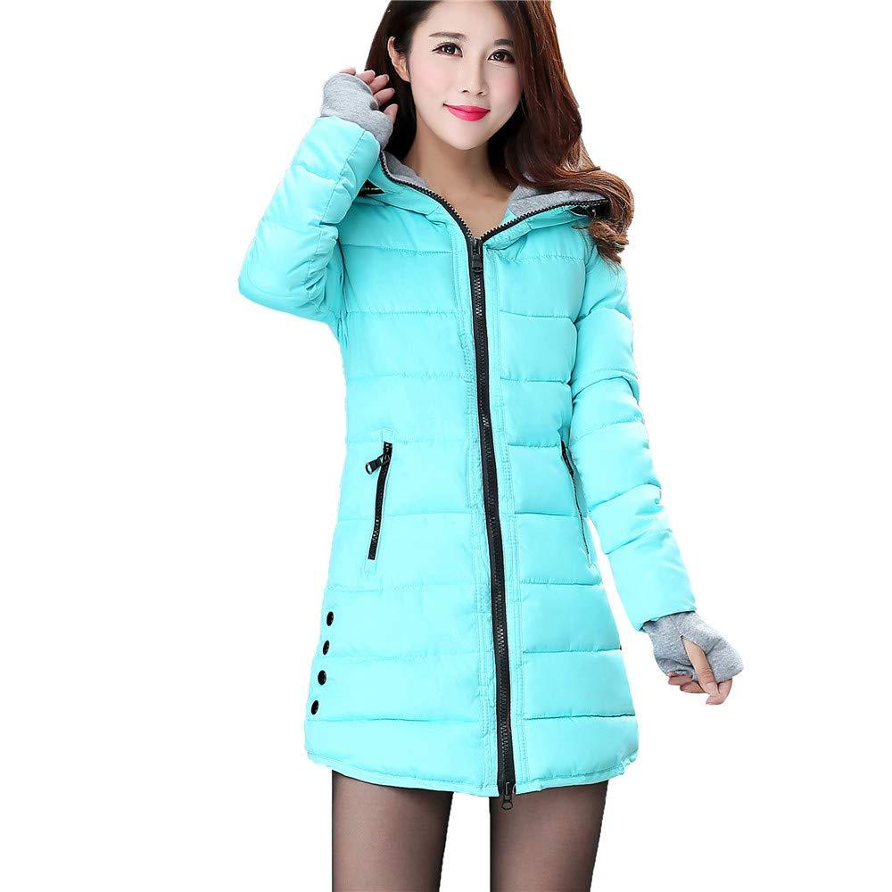 Lanhui Women Long Sleeve Outerwear with Gloves,Cotton-Padded Jackets Pocket Hooded Warm Coat (Medium, Sky Blue)
