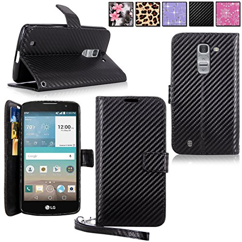 ellularvilla Pu Leather Wallet Flip Card Slots Open Pocket Case Cover Pouch For LG Escape 2 Spirit C70 Logos H443 (Carbon Fiber Black) (F-style Handset)