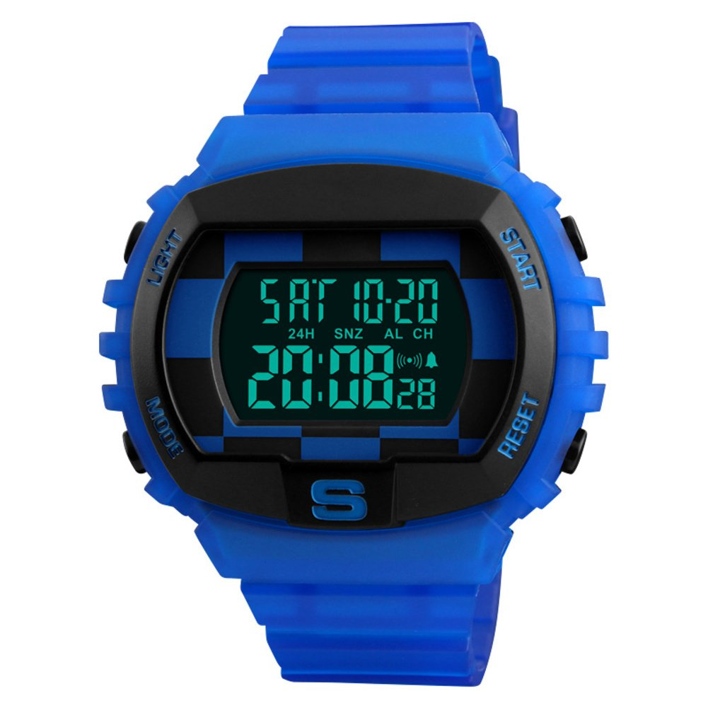 Large Dial Electronic Watch,Waterproof But Outdoor Sports Countdown Two Places Time Multi-Function Watch-e by WWGZ