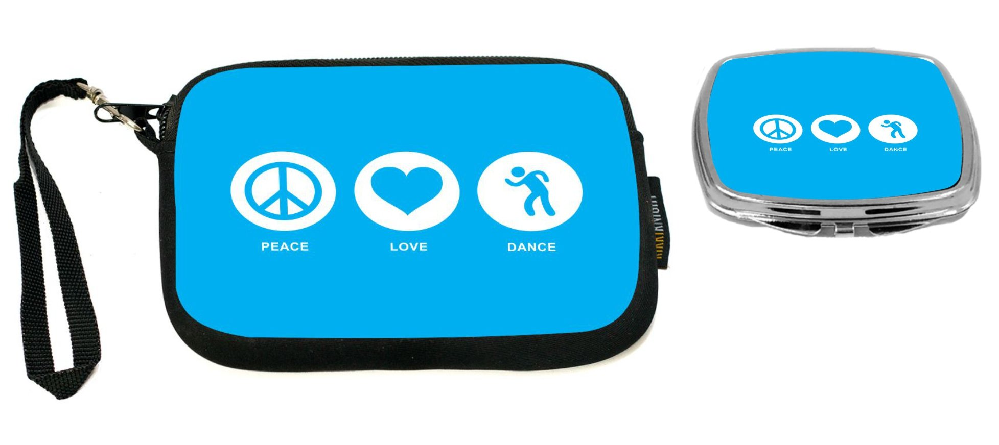 Rikki Knight Peace Love Dance Sky Blue Design Neoprene Clutch Wristlet with Matching Square Compact Mirror