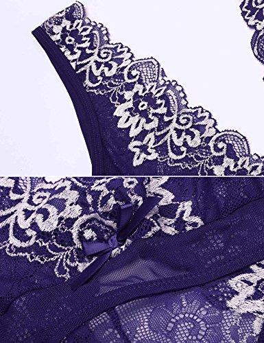 Teddy Floreale Pizzo Sexy Combinazione Body ADOME Di 2 Viola Lace Lingerie Donna Halter nIqFvOz