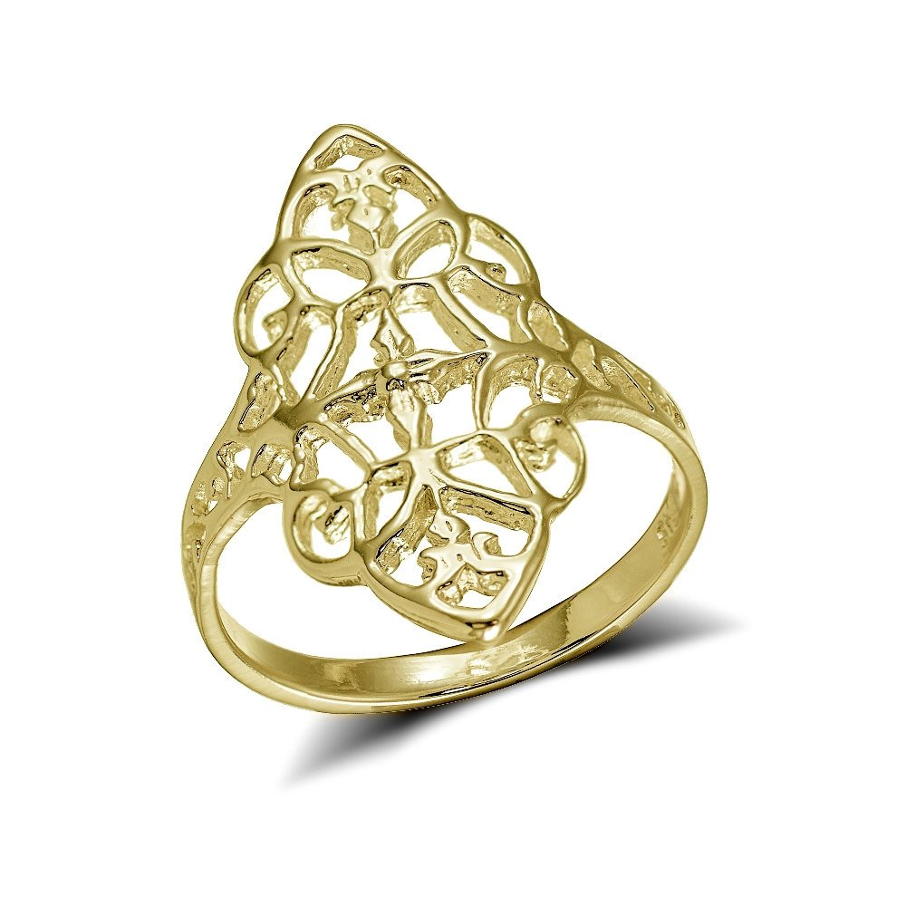 Yellow Gold Flashed Sterling Silver Filigree Victorian Style Ring, Size 9