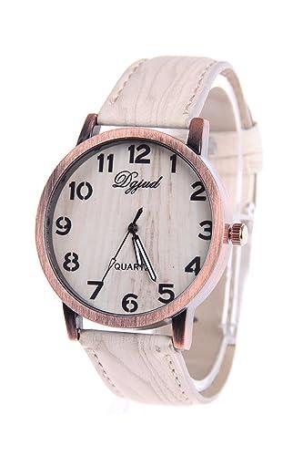 Reloj de pulsera - SODIAL(R)Reloj de pulsera unisex de madera de grano de banda de cuero de imitacion de tipo D: Amazon.es: Relojes