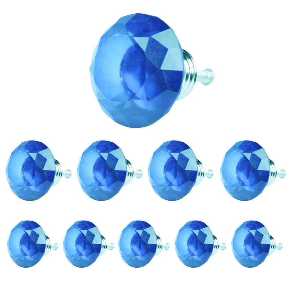 ttnight 10個40 mmダイヤモンド形状クリスタルガラスキャビネットノブ引き出しプルハンドル引き出しのドアWardrob Cupboard 40mm 51290.01 B01DK25JMS ブルー ブルー