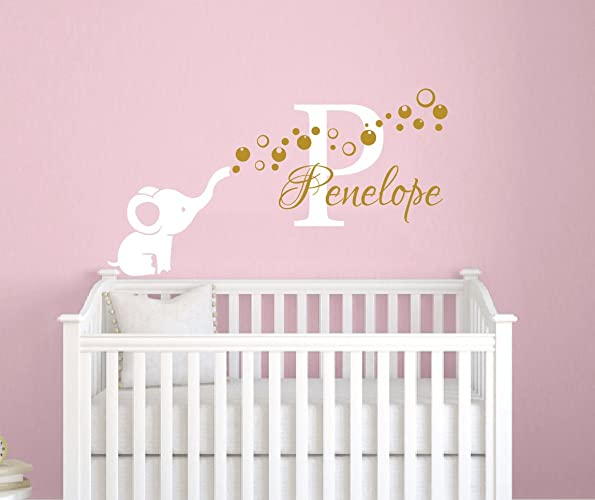 Amazon.com: Name Wall Decal Elephant Wall Sticker Vinyl Nursery ...
