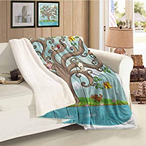 Cartoon Cashmere Velvet Tree of Life Cartoon Art Monkey Doggy Bunny Bee Chicken Burds Fishing Cocoa Teal Turquoise for Family and Friends Blanket Throw Size