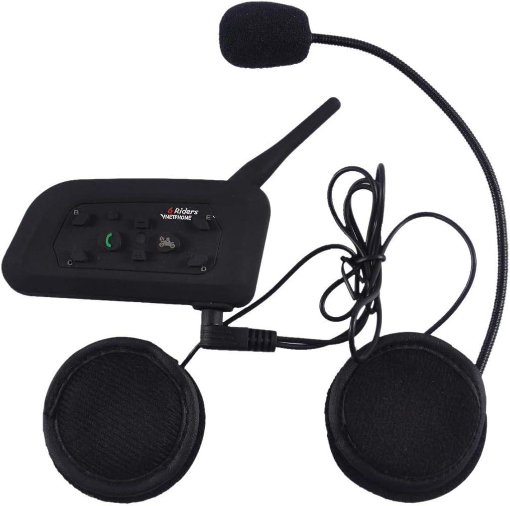 ESTGOUK V6 1200m Intercomunicador de Motocicleta de Bluetooth Casco Comunicador Auricular,Intercomunicacion Entre 6 Motociclistas para Deportes al Aire Libre