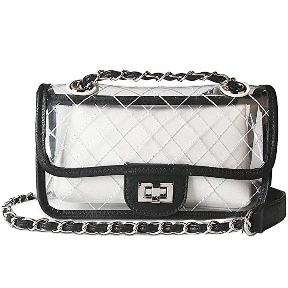 61e6250e522 Donalworld Girl Clear Bag Small Flap Quilted Chain Strap Crossbody Bag Bk   Handbags  Amazon.com
