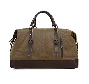 VDSL Canvas PU Leather Travel Duffel Bag, Unisex Weekend Handbag Overnight 47167cdb0f