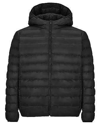 51e612267d4 SYTX Womens Plus Size Zip-Up Hooded Lightweight Short Down Coat Jacket  Outerwear Black XXXL