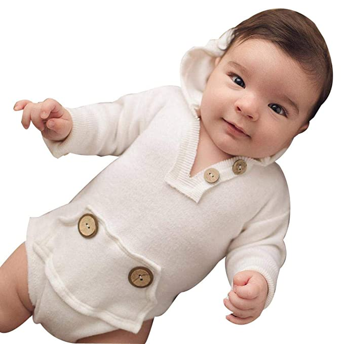 0aa4d2a32335 Image Unavailable. Image not available for. Color  Franterd Baby Solid White  Hooded Romper with Button Boy ...