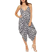 Crazy Girls New Womens Plain Ali Baba Harem Suit Cami Strappy Oversized All in One Jumpsuit
