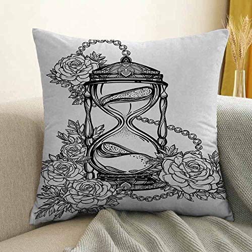 Tattoo Silky Pillowcase Pencil Drawing Romantic Theme Hourglass Symbol of Eternal Love with Roses Print Super Soft and Luxurious Pillowcase W16 x L16 Inch Black and White