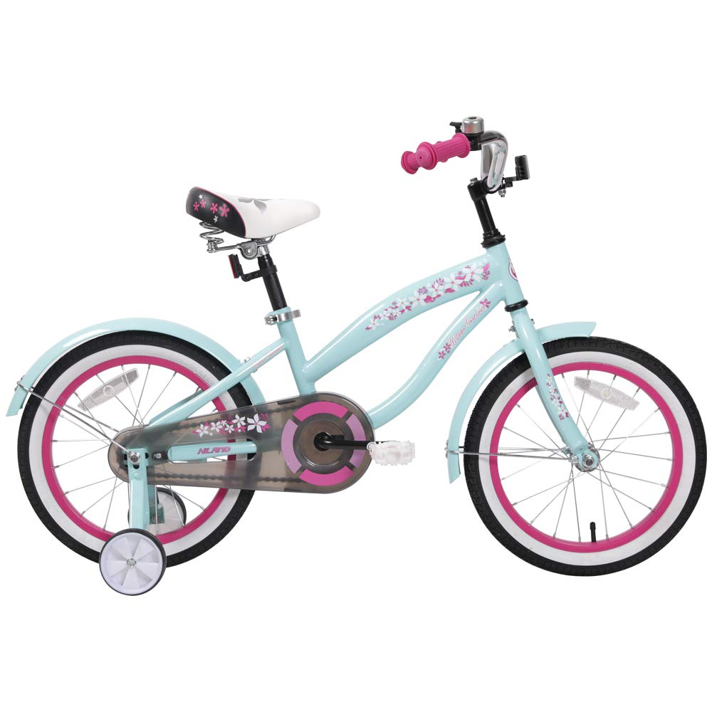 HILAND 16 Inch Kids Bike for 3 4 5 Years Girls, Girls Bicycle with Training Wheels, Children's Beach Cruiser Bike, Gift for Girls, Blue Kids Cycle