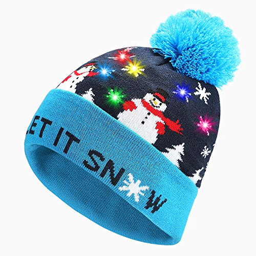 PUMICE LED Light Up Beanie Colorful LEDs Hat for Women Children Indoor and Outdoor, Best Gift of Festival, Holiday, Celebration, Parties, Bar, Christmas