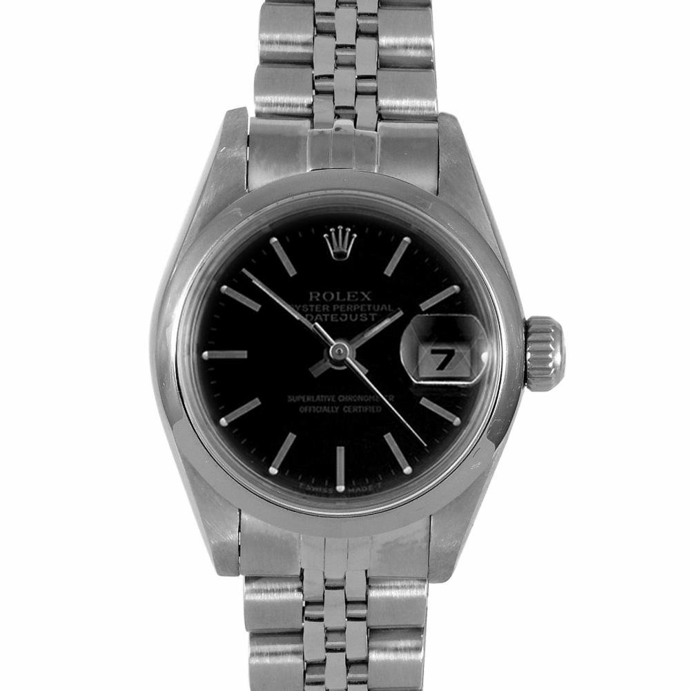 Rolex Ladies 26mm Stainless Steel Datejust Swiss-Automatic Watch - 69160 - Black Stick Dial - Stainless Steel Smooth Bezel – Stainless Steel Jubilee Band (Certified Pre-Owned)