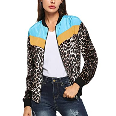 Yvelands Moda Mujer Casual Leopard Patchwork Zipper Chaqueta ...