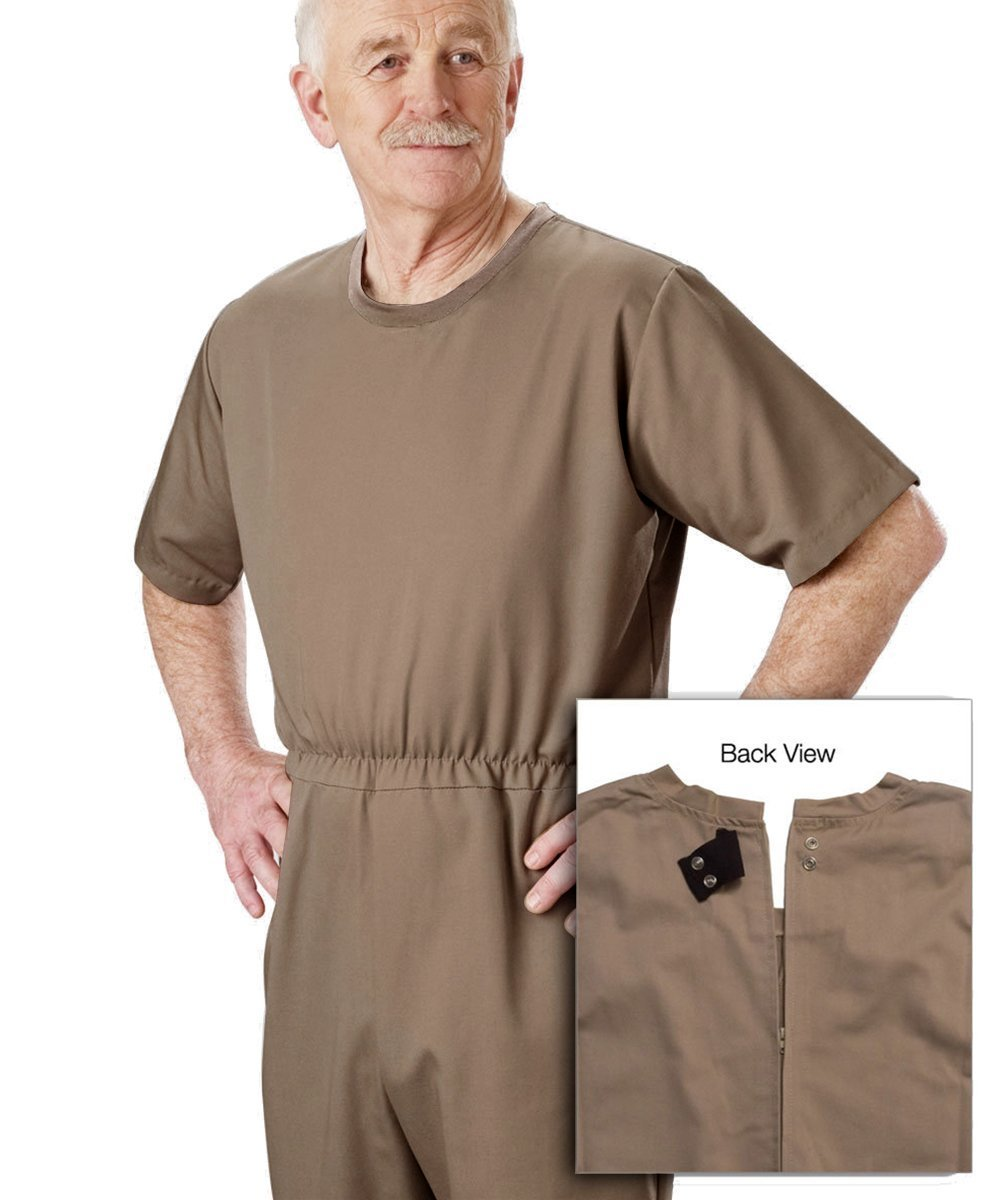 Mens Special Needs Anti-Strip Alzheimers Nursing Home Jumpsuit - Taupe MED Silvert' s 50830