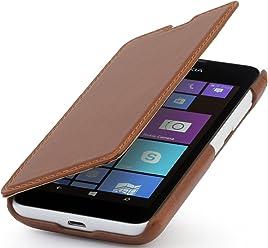 Style bien® UltraSlim Case, housse en style Book Type en cuir pour Nokia Lumia 530, Cognac