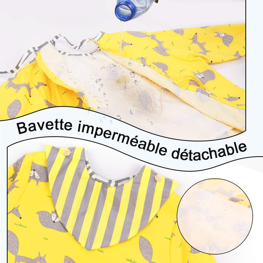 Lictin Bavoir B/éb/é Coton Manche Longue Etanche Tablier Peinture Enfant Coton 3pcs Blouse Amovible Peinture Enfant Coton Repas /École Maternelle Impermeable (0-2Ans)