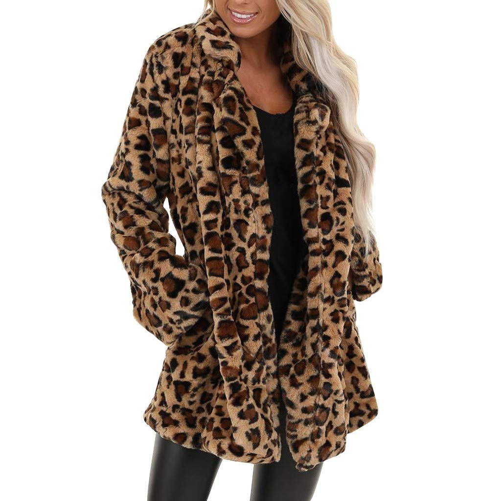 QIUUE Women's Leopard Faux Fur Cardigan Coat Pocket Fuzzy Warm Winter Oversized Outwear Long Coat Jackets Brown by QIUUE