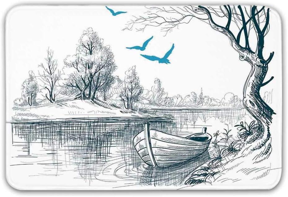 Decoración de la casa del lago Alfombrilla antideslizante para la puerta, Barco en el río tranquilo Árboles Pájaros Ramitas Dibujo Boceto Clipart Alfombra minimalista de agua para puerta interior