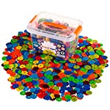Creative Kids Flakes – 1400 Piece Interlocking Plastic Disc Set for Safe, Fun, Creative Building – Educational STEM Construction Toy for Boys & Girls - Non Toxic – Ages 3 and Up