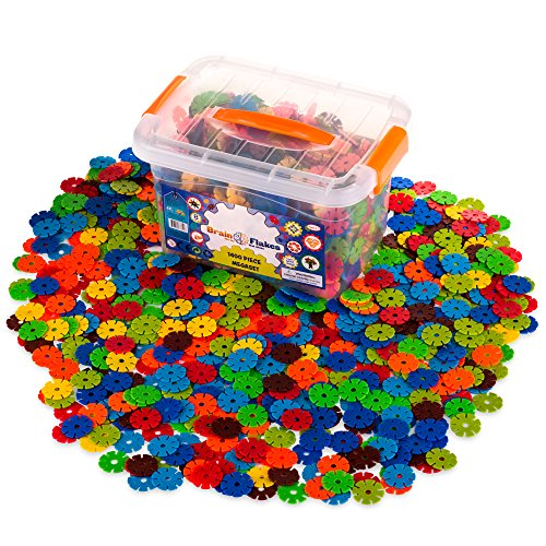 Creative Kids Flakes – 1400 Piece Interlocking Plastic Disc Set for Safe, Fun, Creative Building – Educational STEM Construction Toy for Boys & Girls - Non Toxic – Ages 3 - Creative Set
