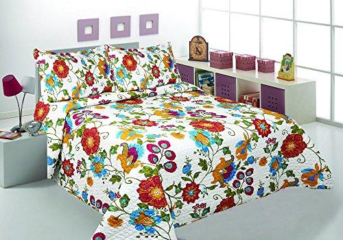 3 Pcs Printed Bedspread/ Coverlet Sets/ Quilt Sets, Full/ Queen & King Size Multi Color Modern Flower Design Over Size (Jn 12) (King)