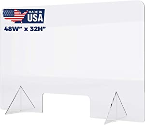 """Plexiglass Sneeze Guard - Protective Freestanding Shield Guards Against Sneezing and Coughing/Transaction Window for Offices and Stores (48""""W x 32""""H)"""