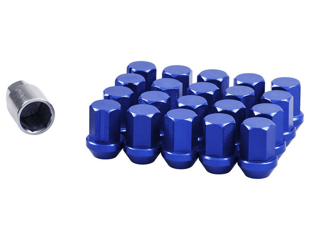 blue EDJIAN Automatic 20 Pcs Aluminum Spline Closed End Bugle Acorn Nut Wheel Lug Nuts Corn Seat 12x1.5 Thread With Key