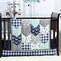 Woodland Trail 4 Piece Forest Animal Theme Patchwork Baby Boy Crib Bedding Set