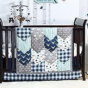Woodland Trail 5 Piece Forest Animal Theme Patchwork Baby Boy Crib Bedding Set