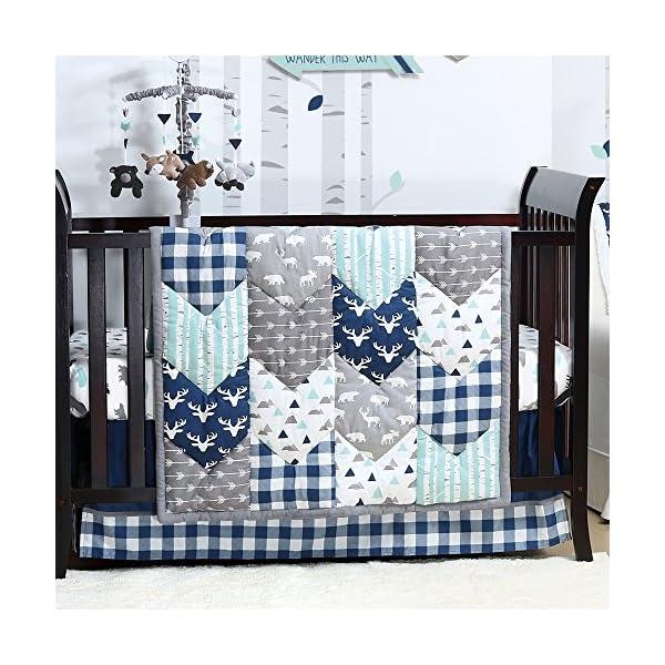 Woodland Trail 6 Piece Forest Animal Theme Patchwork Baby Boy Crib Bedding Set – Navy Blue Plaid