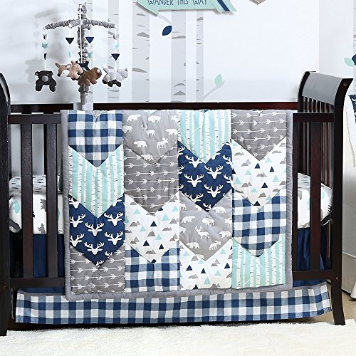 Theme Bedding Set - Woodland Trail 4 Piece Forest Animal Theme Patchwork Baby Boy Crib Bedding Set - Navy Blue Plaid