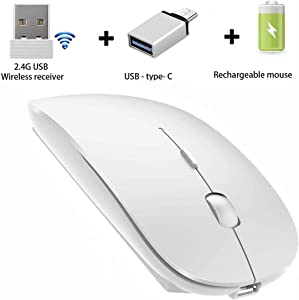 AI DAMI Slim Rechargeable Wireless Mouse, Wireless Mouse for Laptop Computer Mac Desktop Notebook PC,2.4G Wireless Mouse (White)