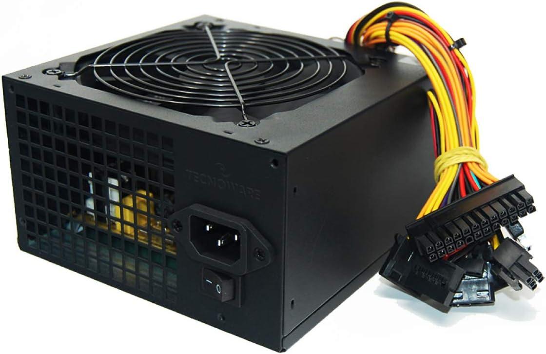Tecnoware Fuente de alimentación para Office PC ATX Free Silent 650 W, ventilador 12 cm, 3 x SATA, 1 x 24 polos, 1 x 12 V, 4+4 polos, 3 x Molex, 1 x Floppy - Garantía 24 meses On - Site, FAL650FS12