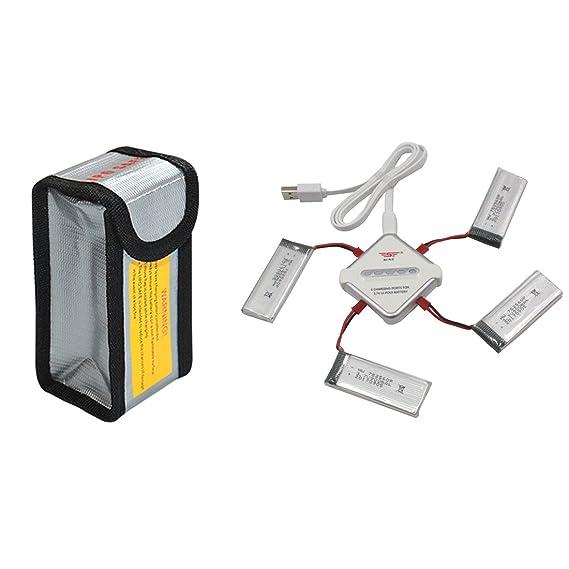 Foxom Drone Batería 5 pcs 3.7v 900mah Lipo Batería + 4 en 1 Cargador Batería + rueba de Explosiones Bolsa Para Quadcopter Drone 8807 8807W