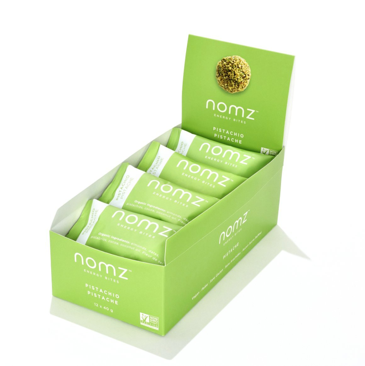 Nomz Energy Bites, PISTACHIO, 1.4 Ounce (12 pouches / 24 energy bites) Certified Organic, Vegan, Gluten Free, Paleo, Non GMO. A healthy snack and a delicious alternative to energy bars. by Nomz